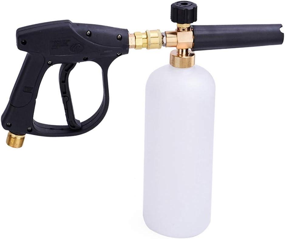 Stone Banks Arandela de Alta Presión Pistola de Espuma de Nieve con M22 Conector de Rosca Entrada y 1L Dispensador Ajustable Boquilla Botella de Lanza de Espuma