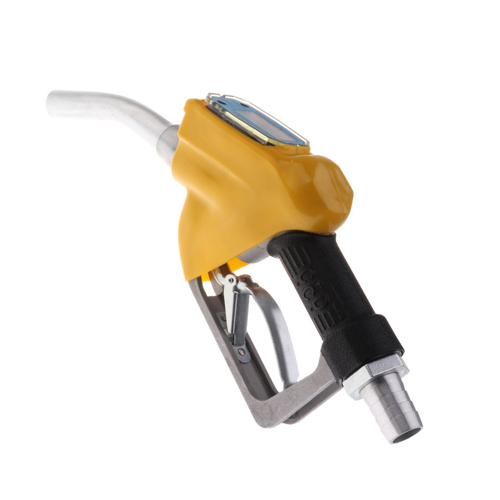 D DOLITY 1'' Nozzle Petrol Oil Delivery Gun with Electronic In-line Flow Meter - Yellow, 340x140x55mm