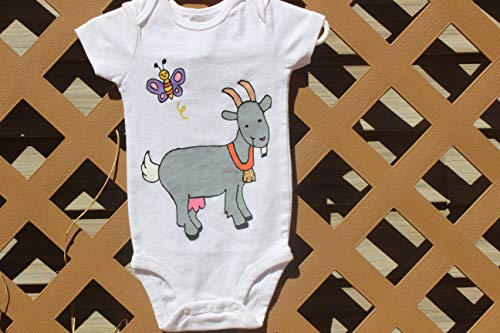 - Hand painted in South Dakota, Goat Baby Bodysuit, 12 months onesie