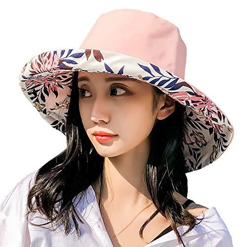 FaroDor Women Print Floral Reversible Bucket Hat UV Sun Protection Wide Brim Summer Beach Cap - Ladies Cotton Bucket Hat