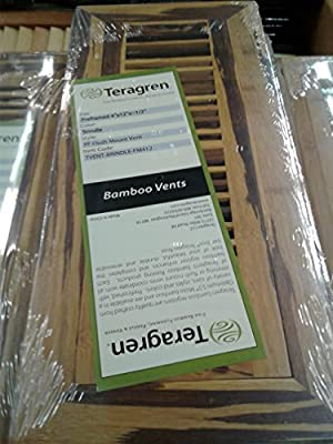 "Teragren Bamboo Floor Vent - Preframed 4""×12""×1/2 - Color - Brindle- Pf Flush Mount Vent"