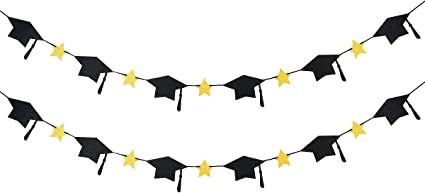 Amazon Com Graduation Cap Decorations Garland 2 Pack 2020 Graduation Cap Twinkle Stars Banner For High School College Nursing Doctor Graduation Party Decoration Supplies Black And Gold Toys Games