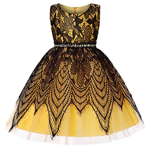(REYO Baby Girl Lace Bowknot Princess Dress Birthday Wedding Performance Formal Tutu Dress Clothes 1-6 Years Yellow)