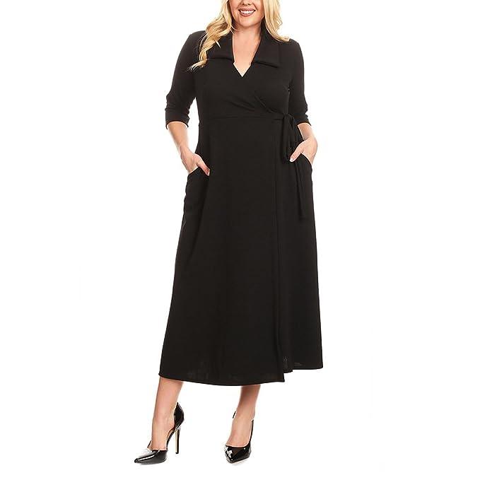 Vestidos Las mujeres visten camisa con cuello en V cintura alta Solid XL XL Midi: Amazon.es: Ropa y accesorios
