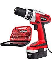 Cordless Drill Driver, Hi-Spec DT30319, 18V 1000mAh Battery, 18Nm of Torque with Variable Speed Trigger, LED Light, and 30 Piece Driver Bit Accessories in Tray Case