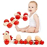 Creative Funny Educational Toy Wooden DIY Toy Hen Drag Eggs Toys Children' Favourites Kids Push Pull Toys,Perfect Birthday Gift Xmas Gift for Baby Kids