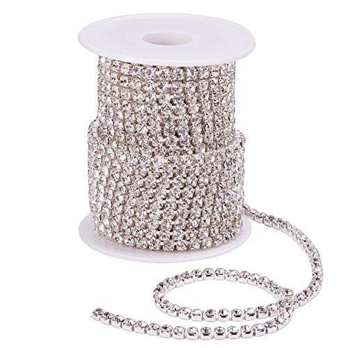 BENECREAT 10 Yard 4mm Crystal Rhinestone Close Chain Clear Trimming Claw Chain Sewing Craft About 1965pcs Rhinestones - Crystal (Silver Bottom) ()