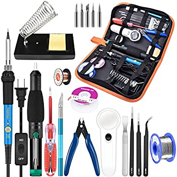 Soldering Iron Kit Electronics, 21-in-1, 60W Adjustable Temperature Soldering Iron, 5pcs Soldering Iron Tips, Soldering Iron Stand, Desoldering Pump, ...