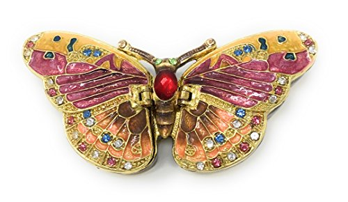 Austrian Crystal Jewelry Trinket Box (Enameled Pastel Butterfly Trinket Box by Kubla Craft, Accented with Austrian Crystals, 2 Compartments)