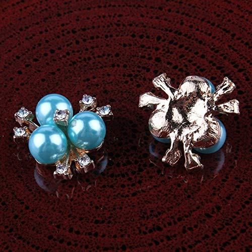 Maslin 100pcs Acrylic Metal Pearl Flower Rhinestone Button Wedding Invitations Decoration Flat Back Accessories Hair Decor for DIY - (Color: Sky Blue, Size: 20mm)