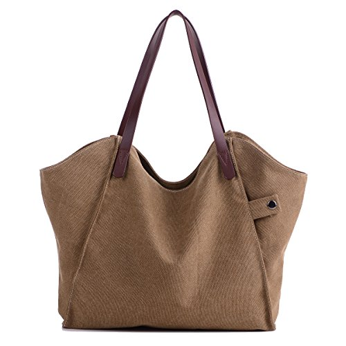 Beach Bag Brown Shopping Losmile Tote Hobo Women's Handbags Shoulder Canvas Casual Purse handle Bag Bags Top qTRw0Pq