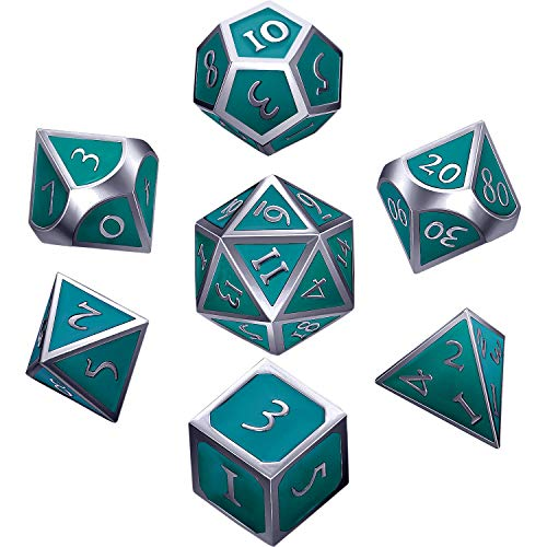 Hestya 7 Pieces Metal Dices Set DND Game Polyhedral Solid Metal D&D Dice Set with Storage Bag and Zinc Alloy with Enamel for Role Playing Game Dungeons and Dragons (Silvery ()