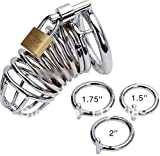 DAWENBI childrens-party-favor-sets Male Chastity Device Cage Urethral Catheter Stainless Steel Chastity Belt Cock Cage Sex Toys 50mm Ring