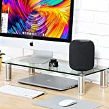Fitueyes Clear Computer Monitor Riser 4.7'' High 23.6'' Save Space Desktop Stand for Xbox One/Component/Flat Screen TV