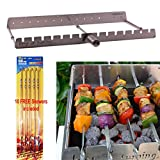 Keep on Turning 14 Skewer Kabob Kebab Shish Automatic Rotating Rotisserie Grill Rack Accessory Attachment for Gas Grills Stainless Steel incl. 10 Free Skewers