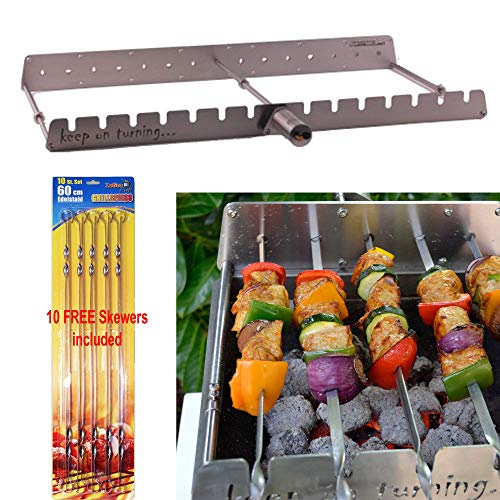 (Keep on Turning 14 Skewer Kabob Kebab Shish Automatic Rotating Rotisserie Grill Rack Accessory Attachment for Gas Grills Stainless Steel incl. 10 Free Skewers )