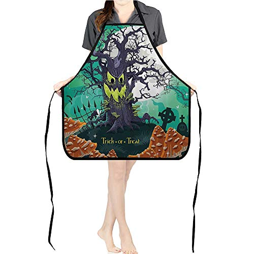 Jiahong Pan Adult Apron Waitresses Apron Trick or Treat Halloween Theme Dead Forest with Spooky Tree GravesMushrooms Cooking Kitchen Aprons for Women MenK17.7xG26.6xB9 ()