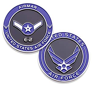 Air Force Airman E2 Challenge Coin! United States Air Force Airman Rank Military Coin. E-2 Airman USAF Challenge Coin! Designed by Military Veterans - Officially Licensed Product! from Coins For Anything Inc