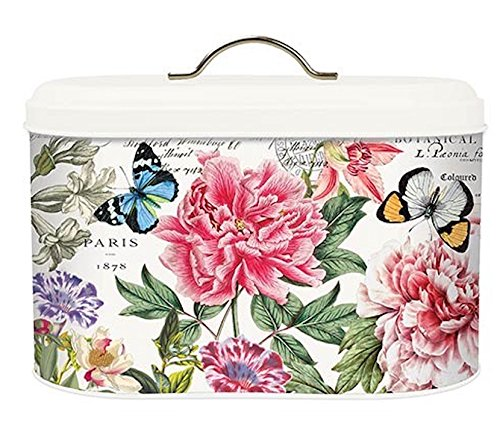 (Michel Design Works Metal Kitchen Bread Bin with Lid, Peony)