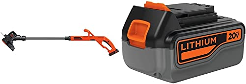 BLACK DECKER 20V MAX String Trimmer Edger Kit, 10-Inch with Extra 4-Ah Lithium Ion Battery Pack LST201 LB2X4020