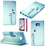 S4 Case, JCmax Clear Compact Style Extreme Lightweight PU Leather Wallet Case [Anti-Slip] [2 Layer Protection] Folio Flip Case For Samsung Galaxy S4-Smile