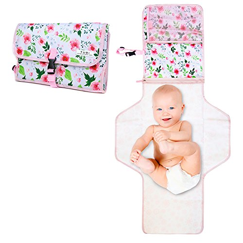 Baby Changing Pad by TUDI | Baby Changing Station, Portable Diaper Changing Pad - Waterproof Travel Mat for Newborns Infants and Toddlers, Pink Floral Design