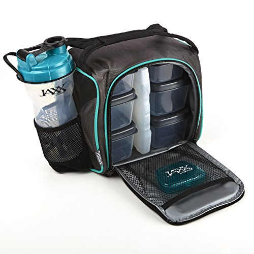 Fit & Fresh Original Jaxx FitPak Insulated Meal Prep Bag with Portion Control Containers, Ice Pack and 28-ounce JAXX Shaker Bottle, Teal