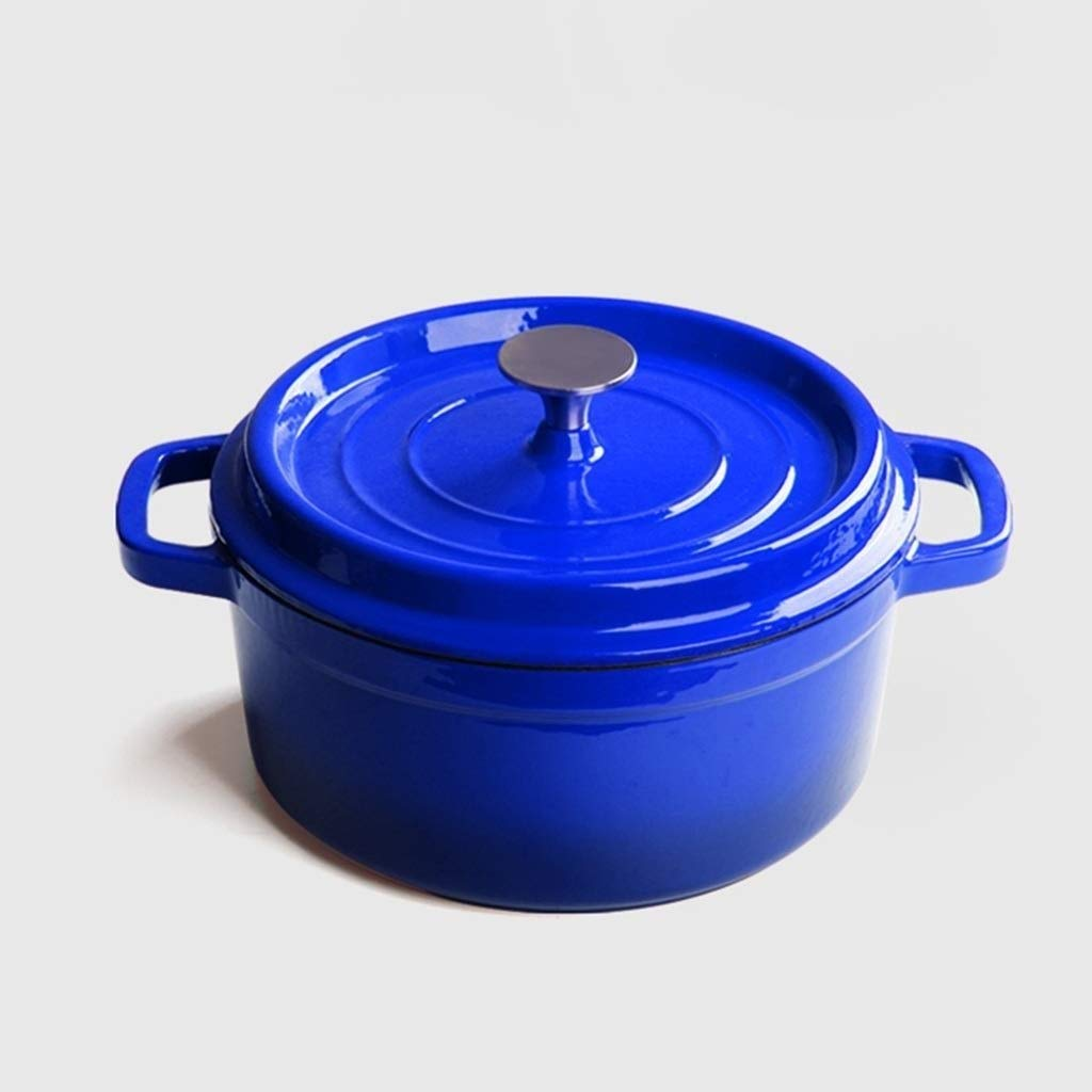 SHICCF Enameled Dutch Oven Quart Pre-Seasoned Pot with Lid, Non-Stick Slow Cook Self-Basting Cookware, Round Casserole Dish (Color : Blue) by SHICCF