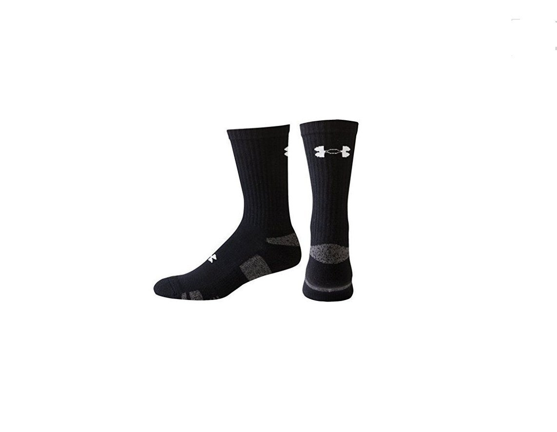Under Armour Boy`s Heatgear Training Crew Socks, 4 Pack (Youth Large, Black (001) / Stealth Gray) by Under Armour