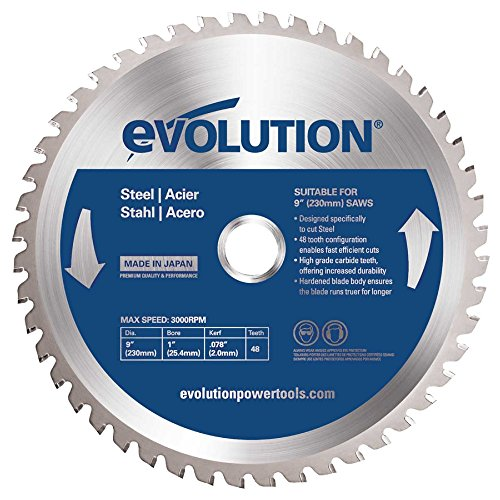Tooth Wood Cutting Blade (Evolution Power Tools 230BLADEST Steel Cutting Saw Blade, 9-Inch x 48-Tooth)