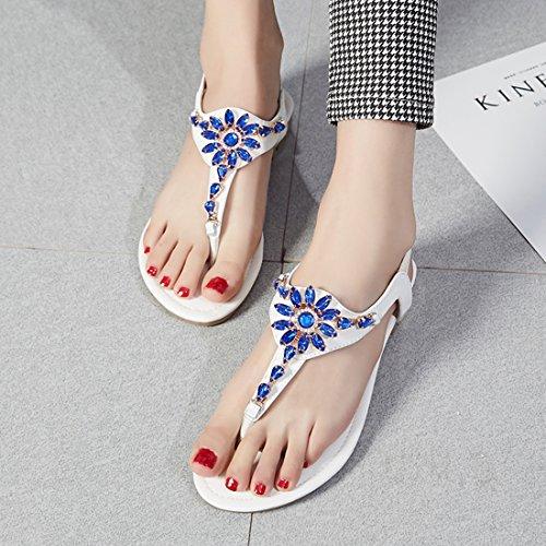 YE Damen Flache Ankle Strap Sandalen Zehentrenner mit Strass und Riemchen Bequem echt Leder Schuhe Weiß