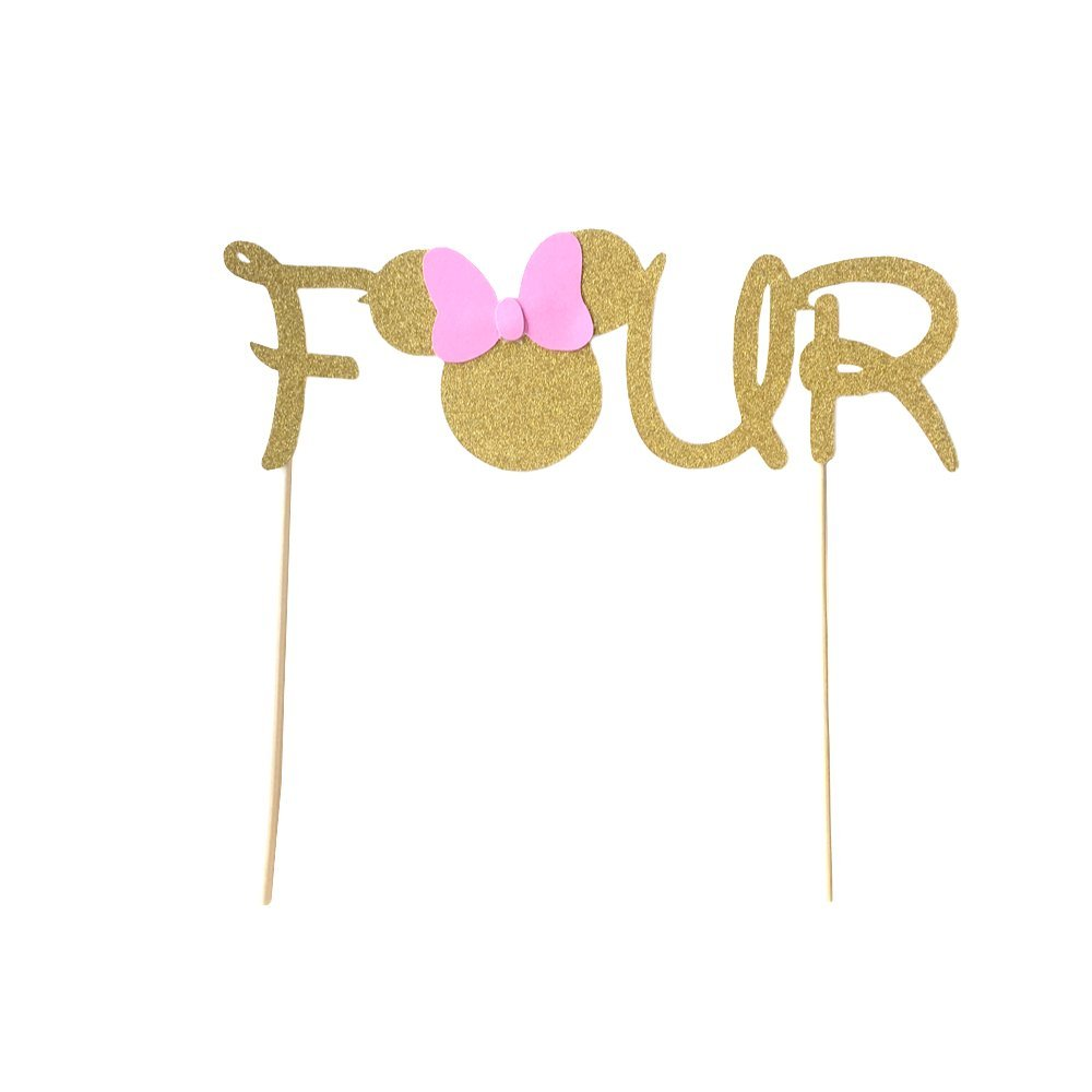 1 pc Four Minnie Mouse Head Pink Gold Glitter Cake Topper for Birthday girl