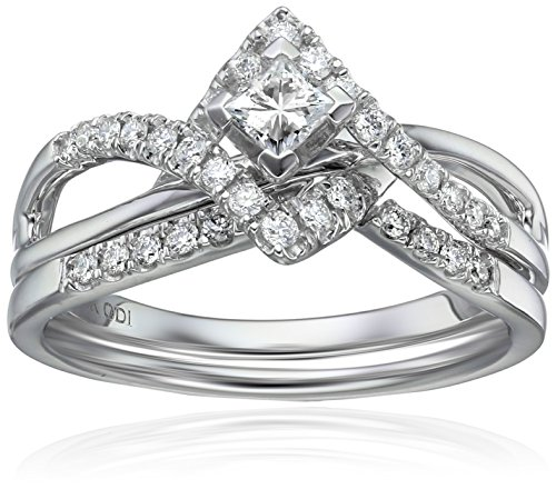 IGI Certified 14k White Gold Diamond Twist Bypass With Princess Cut Center Wedding Ring Set (1/2cttw, H-I Color, I1-I2 Clarity)