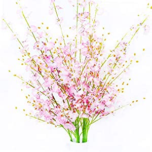 ULUK Artificial Orchids Flowers,12 Pcs Silk Fake Orchid Flowers in Bulk Flowers Artificial Real Touch Vase Arrangements for Indoor Outdoor Wedding Home Office Decoration (Pink) 62