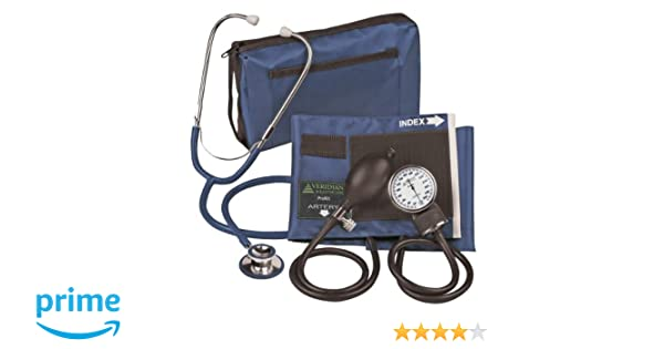 Amazon.com: Veridian Aneroid Sphygmomanometer with Dual-head Stethoscope Kit, Adult, Navy Blue: Health & Personal Care