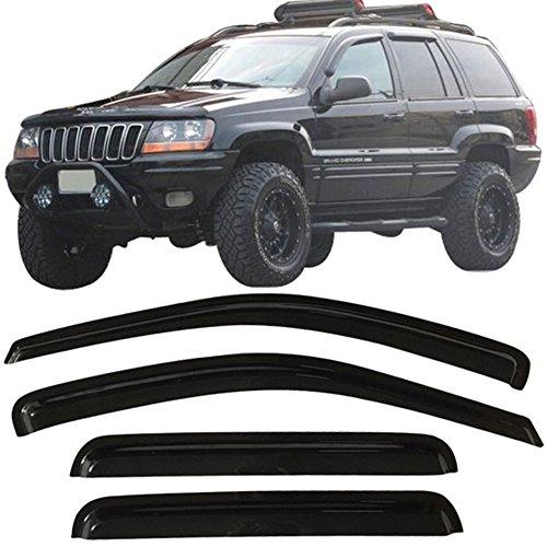 Window Visors Fits 1999-2004 Jeep Grand Cherokee | Rain Vent Shade Wind Guard 4PCS - Acrylic by IKON MOTORSPORTS | 2000 2001 2002