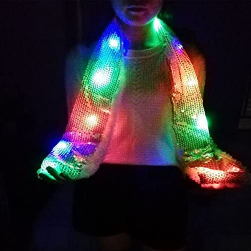 Lights Up Rave Clothing Accessories Toys for Halloween Party Costume Luwint Colorful LED Flashing Sequin Scarf Red