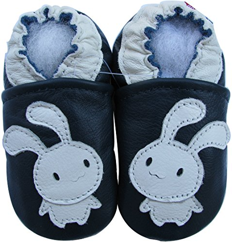 Carozoo Baby Unisex soft sole leather infant toddler kids shoes Bunny Navy Blue 2-3y