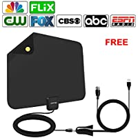 TV Antenna, 50~65 Miles Range Amplified HDTV Antenna with Detachable Signal Booster, USB Power Supply for TV with All Local Broadcast 4K/HD/VHF/UHF Signal Channels