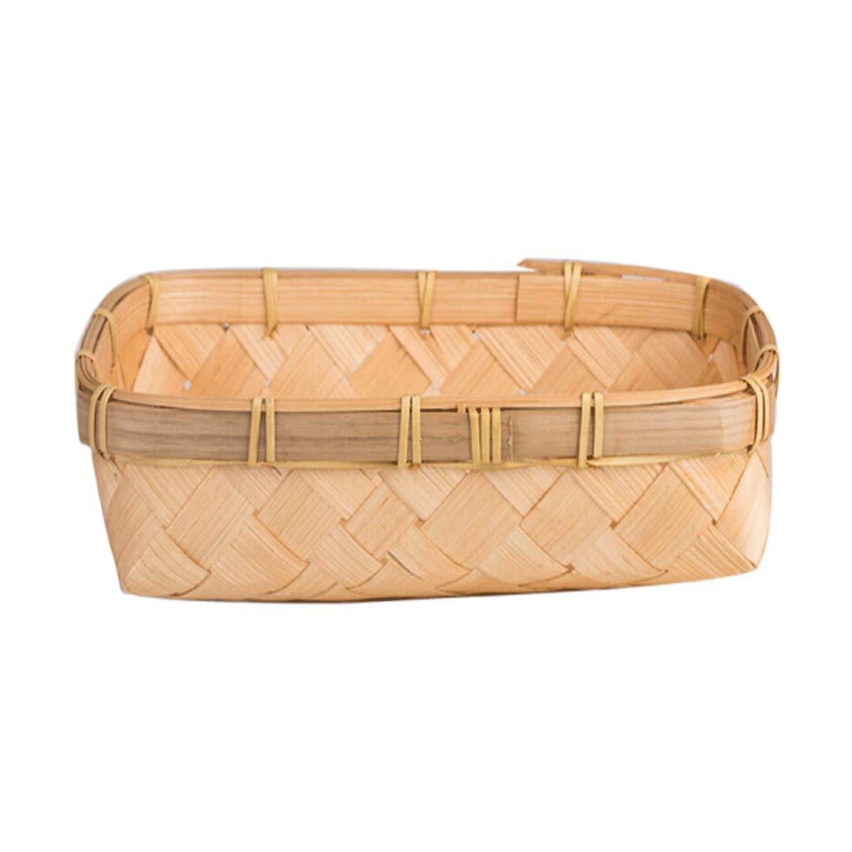 Muziwenju Handmade Woven Basket, Bread Basket, Creative Fruit Basket, Rattan Picnic Basket, Vegetable Basket, Rectangular Bamboo Basket,