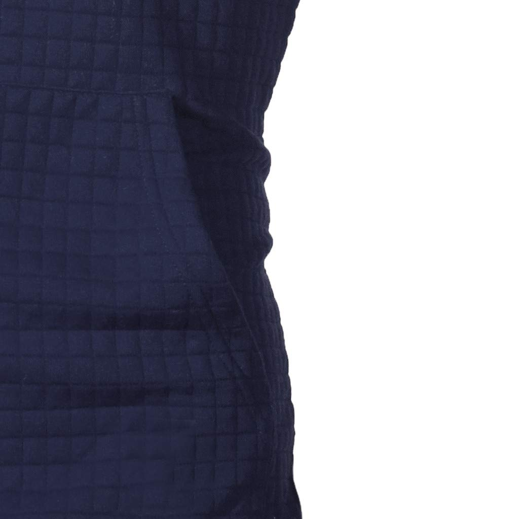 Beautyfine Men's Autumn Hoodie Hooded Sweatshirt Long Sleeve Plaid Top Fashion Tee Outwear Blouse (XXXXX-Large, Navy) by Beautyfine (Image #4)
