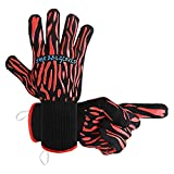 SHR BBQ Grill Gloves, Aramid fiber 932°F Heat Resistant cooking Gloves to protect hands when grilling baking or handing hot items with 4.3'' cuff and Non-slip design repeat use(1pair)