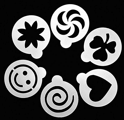 Ancdream 6Pcs Large Size Creative Cappuccino Coffee Barista Stencils Template Strew Pad Duster Spray Art