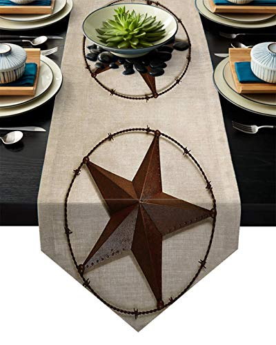Linen Burlap Table Runner Dresser Scarves, Western Country Texas Star Kitchen Table Runners for Dinner Holiday Parties, Wedding, Events, Decor - 13 x 70 Inch]()