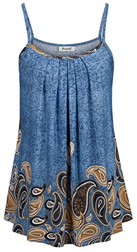 Ninedaily Loose Tank Tops for Women Casual Work,Fashion Summer Spaghetti Straps Shirts with Leggings Sexy Scoop Neck Floral Printed Tunic Camis Blue Brown ()