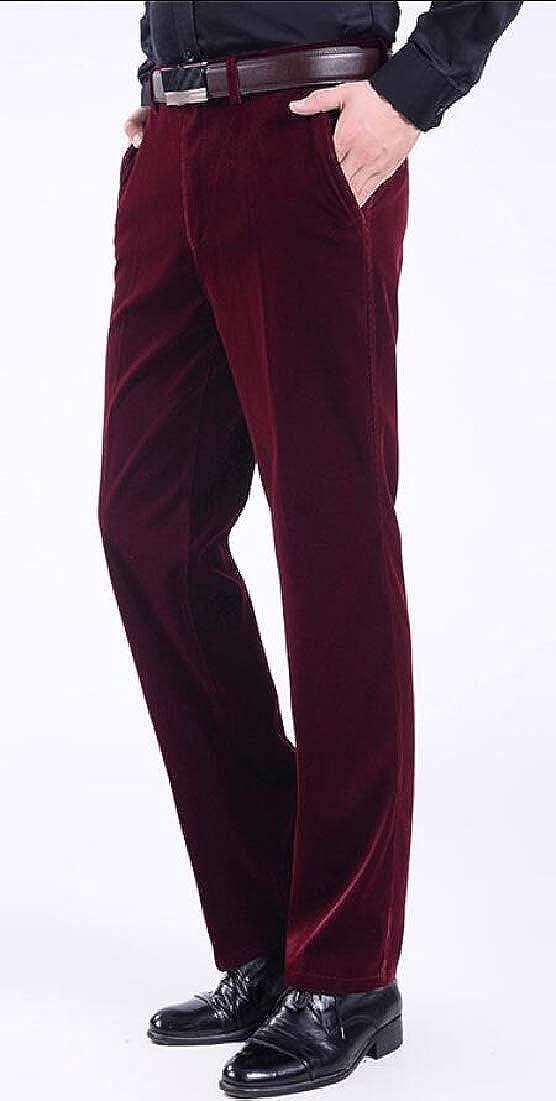 XQS Mens Stretch Corduroy Classic Fit Waist Expandable Front Plain Pant