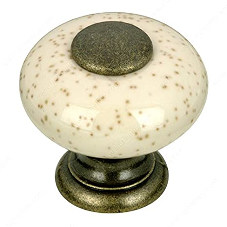 Richelieu Expression Classic Metal & Ceramic Knob 25.4MM Diameter -BP338089- Oatmeal Level USA