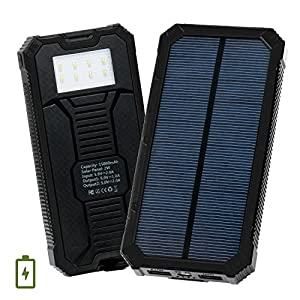Solar-Charger-Levin-15000mAh-Solar-Power-Bank-with-8-LED-Flashlight-Dual-USB-Port-Solar-Panel-Portable-Charger-Outdoor-Backup-for-iPhone-iPad-iPod-Cell-Phone-Tablet-CameraPure-Black