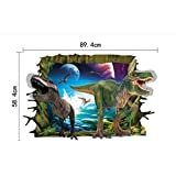 rc-angel 3d dinosaurios arte de pared adhesivo calcomanías de vinilo extraíble habitación infantil decoración