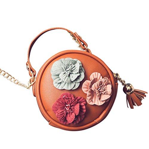 OULII Sacchetti di borsa della borsa di Crossbody del sacchetto di sera della borsa della spalla dell'unità di elaborazione del sacchetto sveglio dell'unità di elaborazione (marrone)